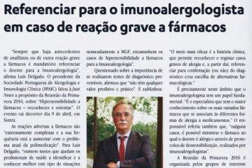 Referenciar para o imunoalergologista em caso de reação grave a fármacos (Jornal Médico, março 2016)
