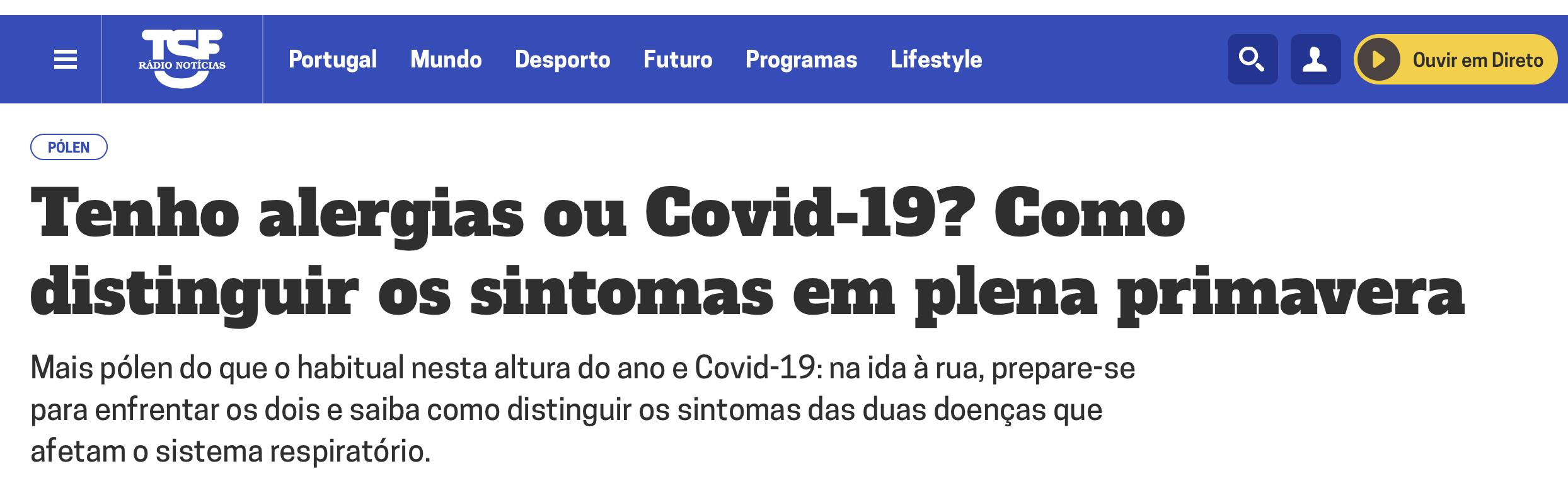 TSF: Tenho alergias ou Covid-19  14/04/20