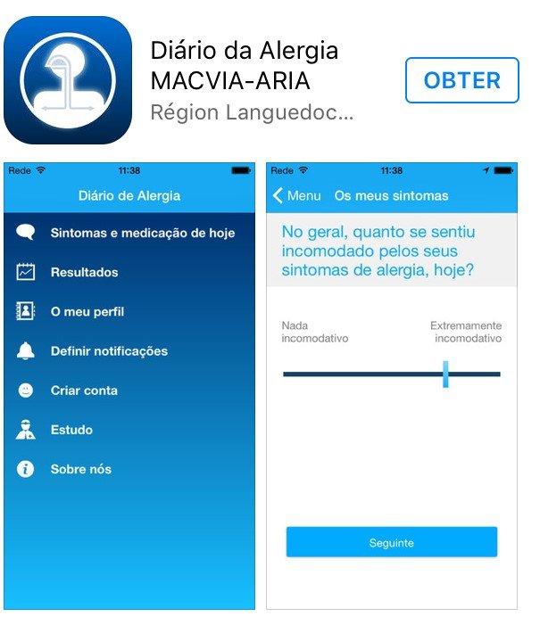 Aplicação Diário de alergia MACVIA ARIA – Portugal lidera número de utilizadores