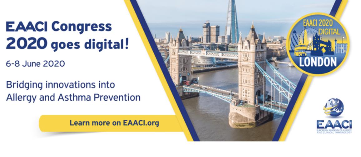 Congresso EAACI 2020 será Digital