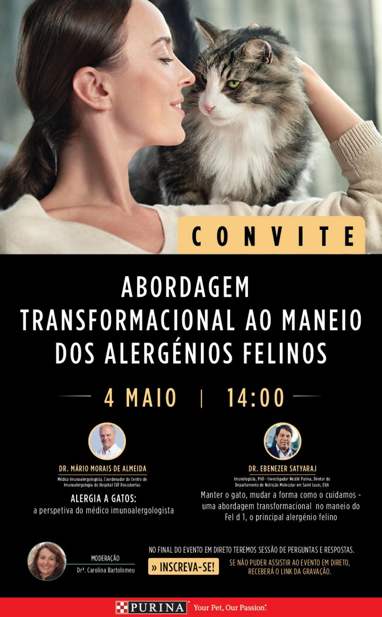 Evento online: abordagem transformacional ao maneio dos alergénios felinos - 4 de maio 2021