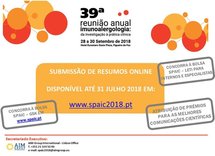Nova data submissão de resumos Reunião Anual da SPAIC 2018: 31 julho de 2018