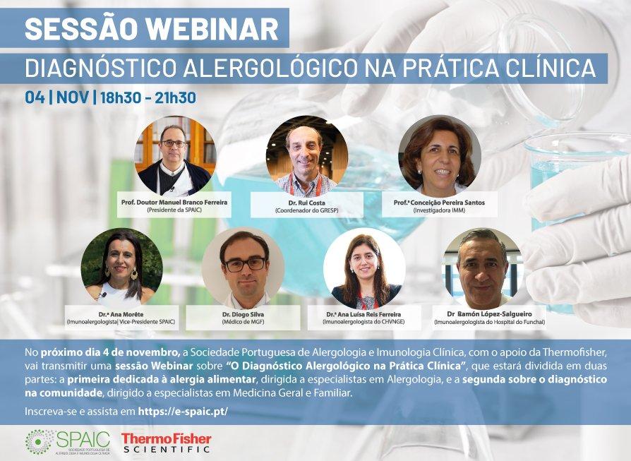 O DIAGNÓSTICO DA ALERGIA NA PRÁTICA CLÍNICA - WEBINAR - 4 NOVEMBRO 2020