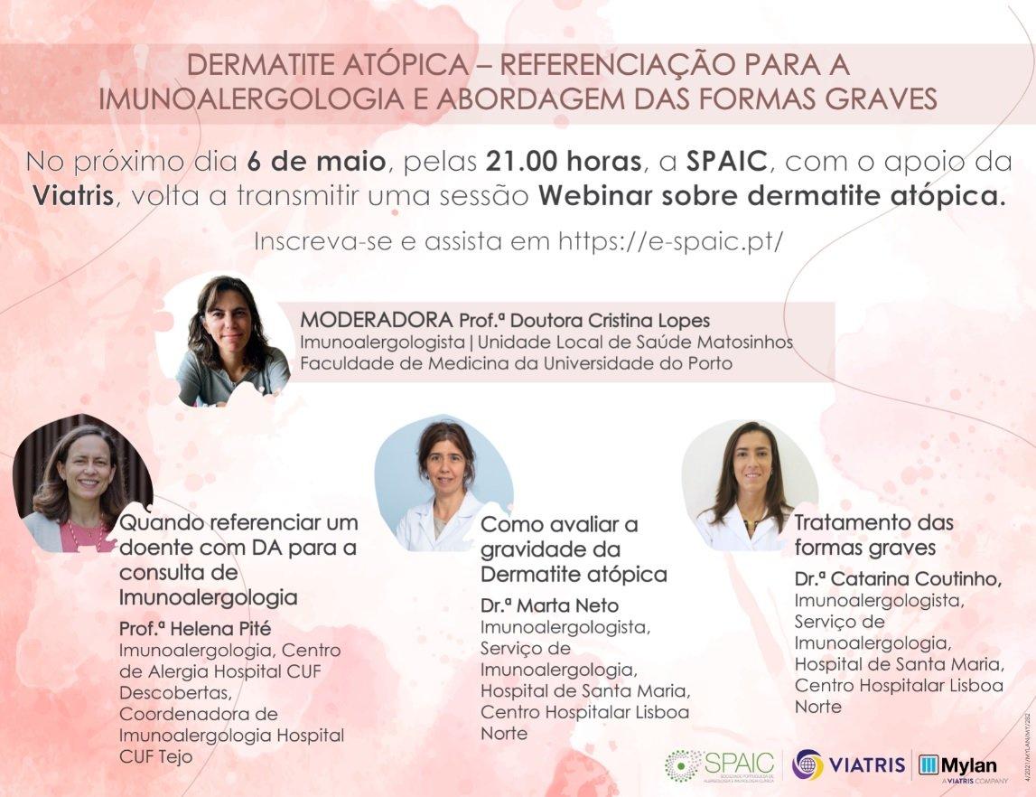 Webinar sobre dermatite atópica: referenciação para a especialidade de Imunoalergologia